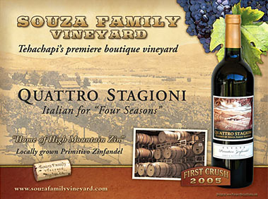 Souza Family Vineyard Wine Promotional Poster